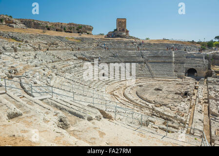 Teatro Greco Syracuse, view of the auditorium of the ancient Greek theatre in the Archaeological Park in  Syracuse - Stock Photo