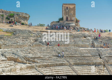 Sicily Greek theatre, view of the auditorium of the ancient Greek theater in the Archaeological Park at Syracuse (Siracusa), Sicily