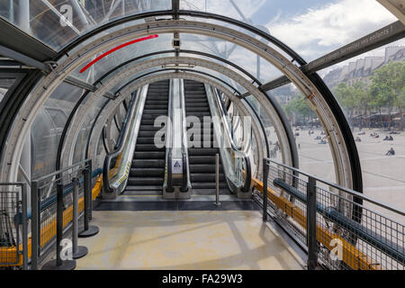 PARIS, FRANCE - MAY 29: Glass tube corridor with escalator at Pompidou Centre on May 29, 2015 in Paris, France - Stock Photo