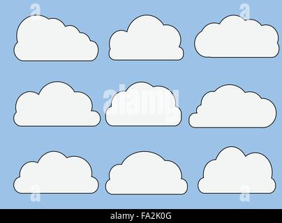 Vector Web Cloud Icons in Different Shapes - Stock Photo