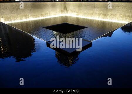 9/11 Memorial Fountain at night