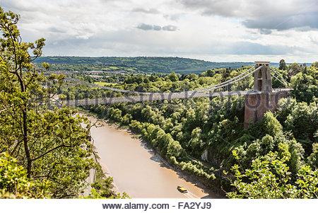 View at the Clifton Suspension Bridge and Avon River Valley, Bristol, Somerset, England | Aussicht auf die Clifton - Stock Photo