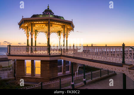 Sunset at bandstand, Brighton - Stock Photo