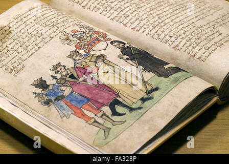 Historic, hand-written biblical script at a convent library, Germany,  europe - Stock Photo