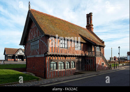 Moot Hall Grade I listed building Town Hall 16th century timber-framed  now Museum Aldeburgh East Anglia Suffolk - Stock Photo