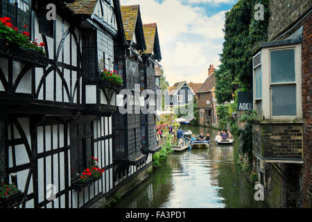 River Stour and 16th Century Old Weavers House in Canterbury - Stock Photo