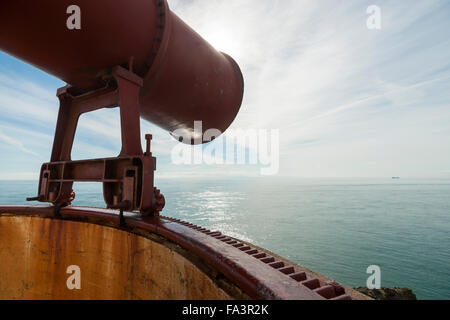 The fog horn of the Mull of Galloway lighthouse, Dumfries and Galloway, Scotland, UK - Stock Photo