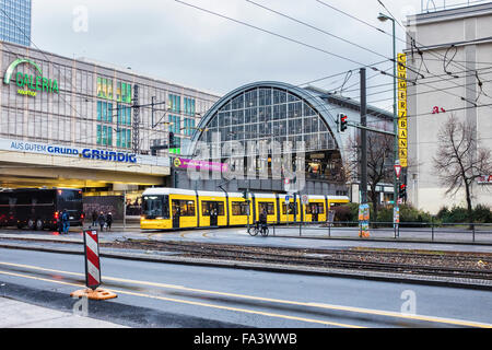 Berlin Alexanderplatz S-bahn railway station, tram and Galeria Kaufhof department store