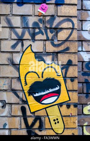 Graffiti street art face Berlin wall free syria Stock Photo ...