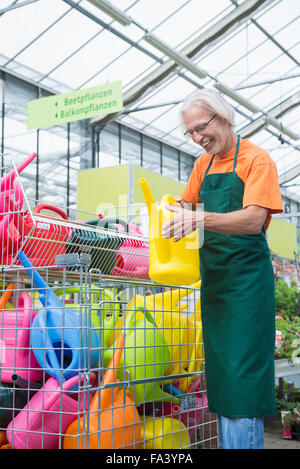 Male gardener arranging colourful watering cans, Augsburg, Bavaria, Germany - Stock Photo