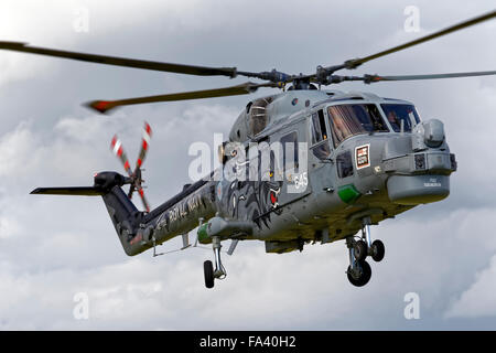 Westland Lynx HMA.8SRU XZ722/645 of the Royal Navy Black Cats helicopter display team at the Cotswold Airshow,Gloucestershire,UK - Stock Photo