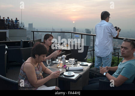 Landscape, views. Banyan Tree Rooftop Vertigo & Moon Bar, Restaurant, , Bangkok , Thailand. View of the city, Vertigo - Stock Photo