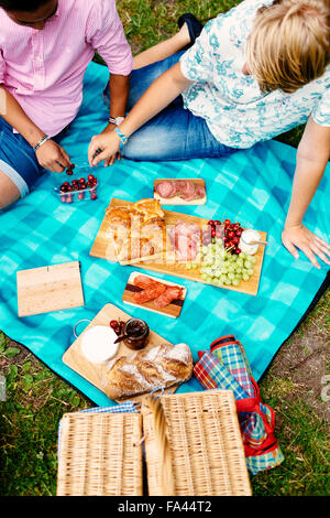High angle view of male friends having cherries during picnic at park - Stock Photo