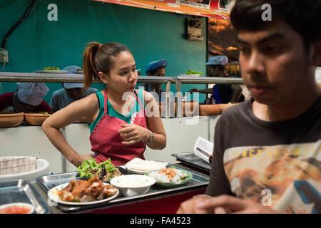 Food stall at Chatuchak Weekend Market, Bangkok. Chatuchak Weekend Market. Chatuchak Weekend Market or Jatujak - Stock Photo