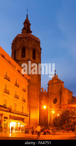 Night view of Micalet tower and Cathedral. Valencia, Spain - Stock Photo