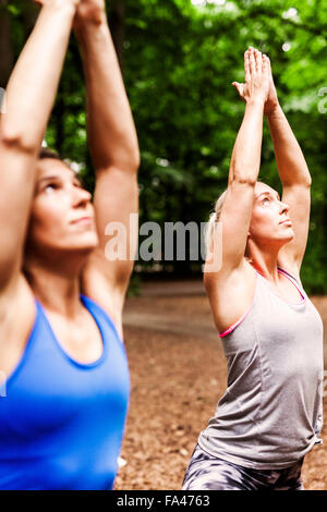 Determined women practicing yoga in tree pose at park - Stock Photo