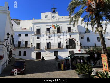 White ayuntamiento town hall building, Vejer de la Frontera, Cadiz Province, Spain - Stock Photo