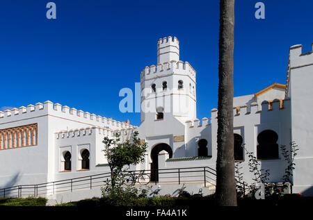 Public library building,  Plaza de Santa Maria, Tarifa, Cadiz province, Spain - Stock Photo