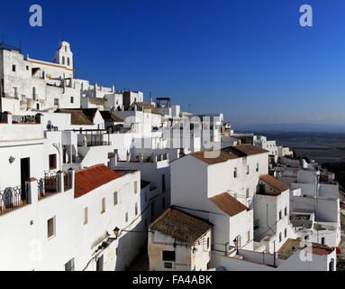 Pueblo blanco historic village whitewashed houses on hillside, Vejer de la Frontera, Cadiz Province, Spain - Stock Photo