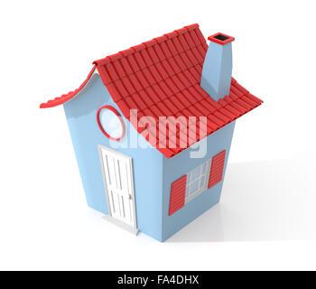 3d illustration of cartoon house icon isolated on white background. - Stock Photo