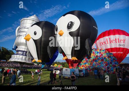Penguins and Scottish Challenge Cup hot air balloons at the Bristol International Hot Air Balloon Fiesta 2015