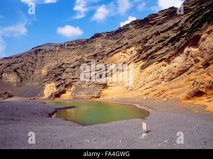 Charco de Los Clicos. El Golfo, Lanzarote island, Canary Islands, Spain. - Stock Photo