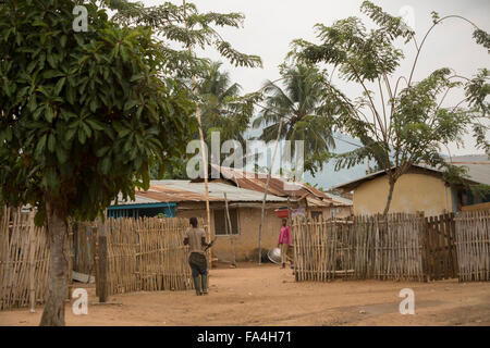 Neighborhood scene - Fotobi village, Southeast Ghana. - Stock Photo