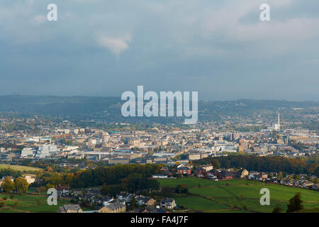 The View from Castle Hill overlooking Huddersfield - Yorkshire, England, UK - Stock Photo