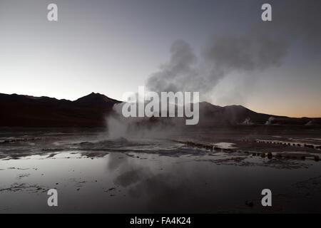 El Tatio Geyser Field in Northern Chile - Stock Photo