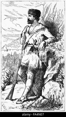 """Daniel Boone (1734-1820), Book Illustration from """"Indian Horrors or Massacres of the Red Men"""", by Henry Davenport - Stock Photo"""