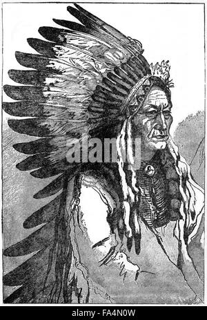"Sitting Bull (1831-1890), Hunkpapa Lakota Chief, War-Dress, Book Illustration from ""Indian Horrors or Massacres - Stock Photo"