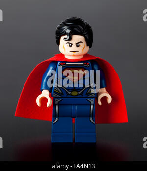Tambov, Russian Federation - January 08, 2014 Lego Superman minifigure on black background. Studio shot. - Stock Photo