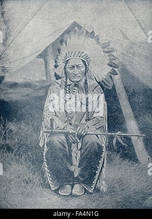 "Sitting Bull (1831-1890), Hunkpapa Lakota Chief, Book Photograph from ""Indian Horrors or Massacres of the Red Men"", - Stock Photo"