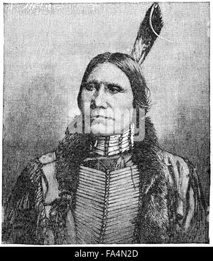 """Chief American Horse (1840-1908), Oglala Lakota Chief, Book Illustration from """"Indian Horrors or Massacres of the - Stock Photo"""