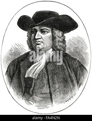 "William Penn (1644-1718), Founder of English Colony of Pennsylvania, Book Illustration from ""Indian Horrors or Massacres - Stock Photo"
