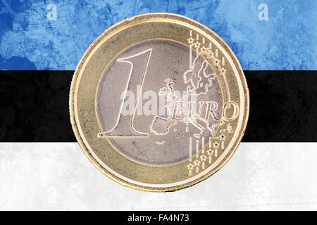 Common face of one euro coin from Estonia isolated on the national estonian flag as background - Stock Photo