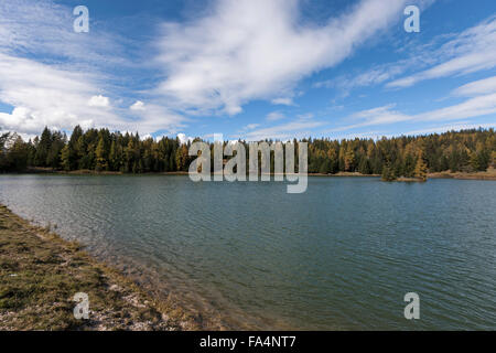 Scenic view of a lake, Felixer Weiher (Tretsee), South Tyrol, Italy - Stock Photo