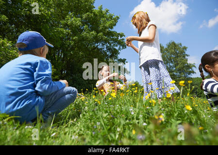 Group of friends making floral crown, Munich, Bavaria, Germany - Stock Photo