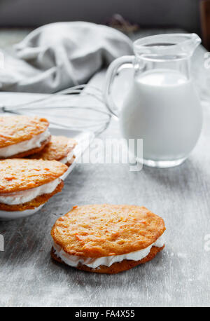 cream filled carrot cake cookies sandwich - Stock Photo