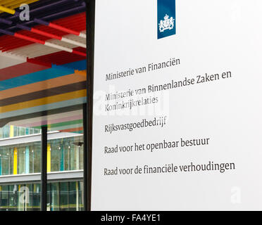 [Editorial Use Only] Office sign at the entrance to the Dutch Ministry of Finance and other ministries - Stock Photo