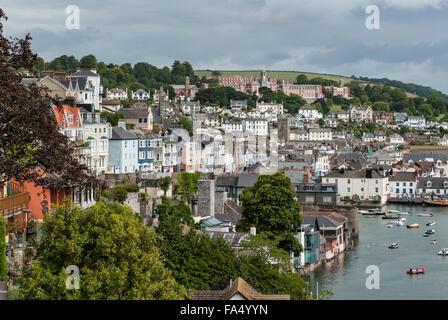 Views across the River Dart towards Dartmouth and Britannia Royal Naval College - Stock Photo