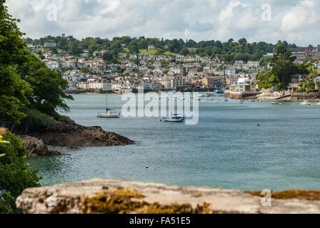 Views across the River Dart towards Dartmouth and Britannia Royal Naval College - Stock Photo