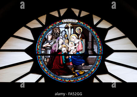 Decorated glass work depicting nativity scene inside the Church or Chapel of Saint Catherine located adjacent to - Stock Photo