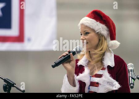 Actress Elizabeth Banks host a USO Christmas show for military personnel deployed to Bagram Air Base December 8, - Stock Photo