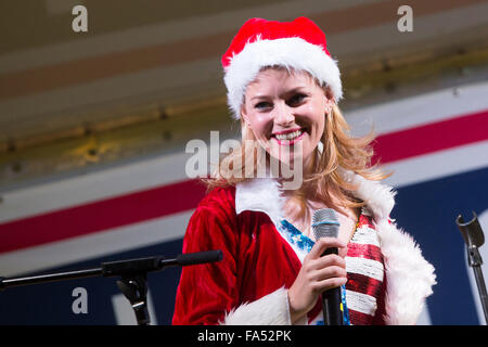 Actress Elizabeth Banks host a USO Christmas show for military personnel deployed to Camp Lemonnier December 6, - Stock Photo