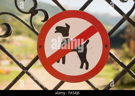 No dogs allowed sign on gate, Carinthia, Austria - Stock Photo
