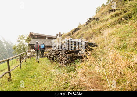 Rear view of two mature hikers walking on footpath, Austrian alps, Carinthia, Austria - Stock Photo