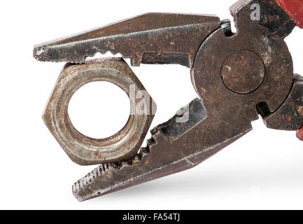 Closeup of old pliers and nut isolated on white background - Stock Photo