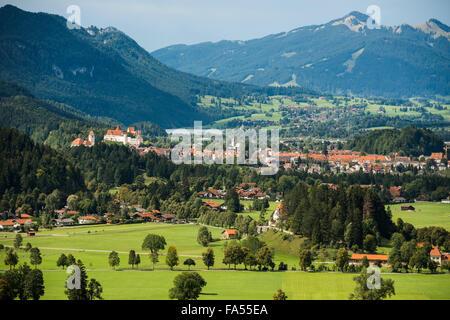 Füssen in front of the Allgäu Alps, Schwangau, Allgäu, Upper Bavaria, Bavaria, Germany - Stock Photo