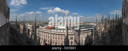 View of Milan cityscape from Cathedral (Duomo di Milano), Milan, Lombardy, Italy - Stock Photo